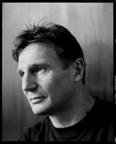 Liam Neeson, male actor, celeb, movie star, portrait, photo b/w.