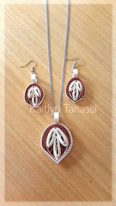 Quilled Earrings and Pendant, handmade by Kaitlyn Tanassi