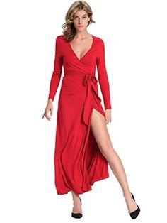 307a3eb12c2e0 Dressray Women Summer Long Sleeve Hollow LaceUp Maxi Long Dresses Red  Medium >>> Check