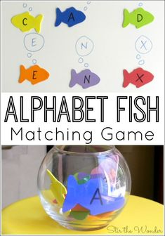 Alphabet Fish Matching Game- Alphabet Fish Matching Game The Alphabet Fish Matching Game combines letter recognition and fine motor skills! It would be a fun activity for a pets or ocean themed preschool unit! Preschool Lesson Plans, Preschool Literacy, Preschool Letters, Letter Activities, Literacy Activities, Preschool Ocean Activities, Pet Theme Preschool, Alphabet Activities For Preschoolers, Rainbow Fish Activities