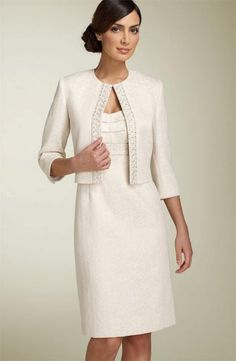 Tahari by Arthur S. Levine Metallic Jacquard Jacket and Dress in ivory for MOTB