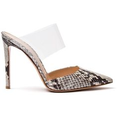 Gianvito Rossi Python Mule (10,220 MXN) ❤ liked on Polyvore featuring shoes, cool girl culottes, kirna zabete, clear shoes, snakeskin shoes, python shoes, stilettos shoes and high heel shoes