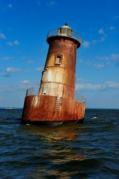 In Chesapeake Bay, Maryland this lighthouse was built in 1882 with a concrete caisson foundation and a 35-foot cast iron tower, but now leans by about 15° since it was ice-damaged in 1977.  Found on Flickr.