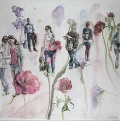 "Saatchi Online Artist: Sabina Sinko; Mixed Media, 2012, Painting ""passers - by W1"""