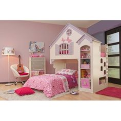 Oeko Amberly Dollhouse Bed for girls with twin bed. My daughter had this for a while and loved sleeping in it...has a bunk loft for a twin bed on top too!