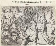Nachtelijke overval op een indianendorp, Theodor de Bry, Johann Theodor de Bry, 1591