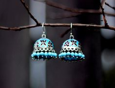 Ethnic Sterling Silver Turquoise and Deep burgundy Enamel Dome Shaped Dangle Chandelier Earring with glass beads- Jhumka