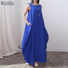 ZANZEA Fashion 2017 Summer Women Cotton Linen Dress Casual Loose Long Maxi Party Dresses Solid Vestidos Plus Size S-5XL