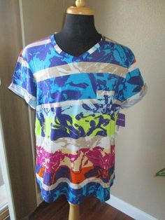 Westbound NWT colorful striped v-neck shirt size XL #Westbound #KnitTop #Casual