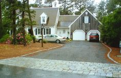 Good visual. Short driveway but layout similar when garage added  Complete Driveway Renovation: Cobblestone Apron & Edging Eastham, Cape Cod