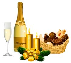 New Year Delicacies and Champagne PNG Picture