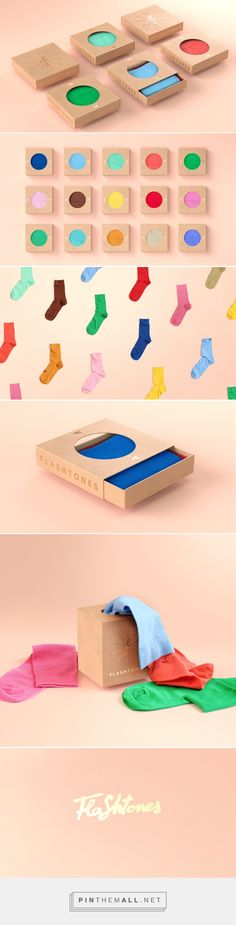 Flashtones on Behance - created via https://pinthemall.net The reason i chose this type of packaging is because it caught my attention with the bright colors of the socks. I also thought the packaging was very cool and unique way to distribute the product. I think there was emphasis placed on the socks themselves.