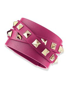 Valentino Rockstud Leather Bracelet - This Valentino bracelet makes it possible to add a small dose of the house's dramatic design aesthetic to any ensemble.