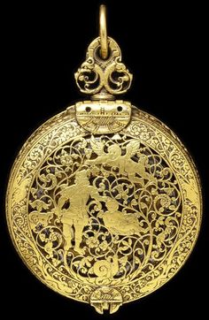 Cast And Pierced Engraved Gilt Brass And Silver Watch Made By T. Chamberlin (Movement) - England, Great Britain  c.1600-1610