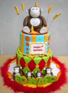 Monkey Theme Birthday Cake