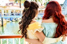 Belle from Beauty and the Beast & Ariel from The Little Mermaid. I will be Belle and Ashley will be Ariel! Disney Girls, Disney Love, Disney Magic, Disney Disney, Manga Anime, Orlando, Disney Parque, Dont Forget To Smile, Don't Forget