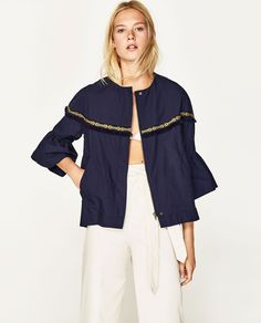 JACKET WITH BELL SLEEVES AND ETHNIC TRIM