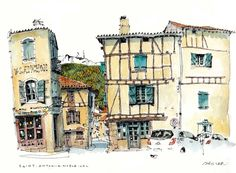 Chris Lee (artist of the wobbly), St. Antonin Noble Val. Every wobbly drawing is done on location, no photos, no erasers, no rulers (that's obvious). Pen, pad, and close proximity to a decent pub. Plus the very unpredictable three legged stool. Perfect conditions.