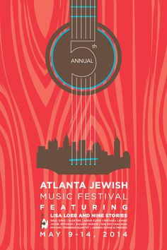 A music festival poster that combines both guitar and city skyline imagery…