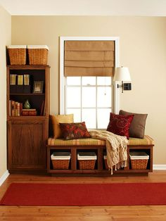 Furniture Project: Built-In Window Seat  Another purpose for old or unfinished cabinets: a window seat with the look of a built-in. Build this project in an entry or living room for extra seating and storage.