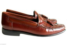 GIORGIO BRUTINI Le Glove Sz 9D Brown Woven Kiltie Tassle Leather Loafers Shoes