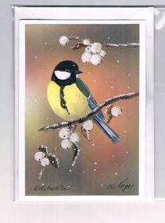 Grüße - Grußkarte - Kohlmeise mit Knallerbsen, handgemalt - ein Designerstück von Vogelmalerin bei DaWanda