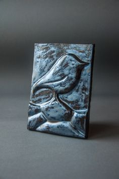 ceramic relief, handmade, bird