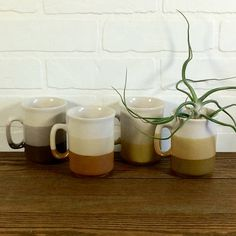 Amazing set of vintage earth-tone ombre mugs. Perfect for every season.