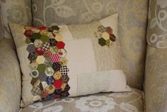 Another fabulous version to the denim pillow I will be making with my Hexie Club birthday hexies!