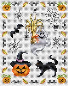 Cross-stitch Halloween... no color chart available, just use pattern chart as your color guide.. or choose your own colors...    Gallery.ru / Фото #89 - Разное - elena-555