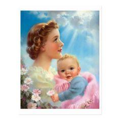 Images Vintage, Vintage Pictures, Vintage Cards, Vintage Postcards, Baby Illustration, Baby Images, Madonna And Child, Mother And Child, Mothers Love