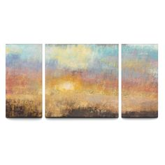 Paradise Sunset 30 x 60 Textured Canvas Print Triptych - 121013-01-08-03
