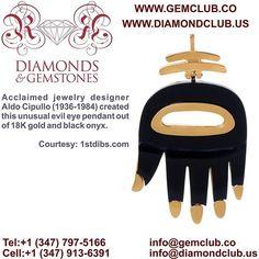 Acclaimed jewelry designer Aldo Cipullo (1936-1984) created this unusual evil eye pendant out of 18K gold and black onyx.  #DiamondClub & #GemClub #Appraiser #Appraisal #Diamond #Gemstones #Jewelry #Watch #Antiques #Pearl #Ruby #Sapphire #Emerald #Gold #Silver #Platinum #Palladium #Luxury #Earrings #Ring #Bracelet #Pendant #Necklace #Brooch #Wedding #Anniversary #Valentine