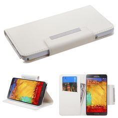 Book-Style Flip Stand Leather Wallet Case for Galaxy Note 3 - White