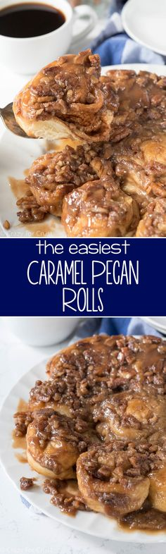 These Easy Caramel Pecan Rolls are the perfect holiday breakfast. Easy, fast, no yeast and no rise, they're foolproof sticky buns without all the work!