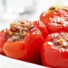 A very tasty recipe for garlic beef stuffed red peppers. These are delicious enjoyed with a salad.. Garlic Beef Stuffed Red Peppers Recipe from Grandmothers Kitchen.
