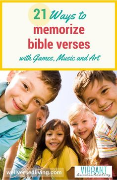 the idea to memorize Bible verses make you shudder…or smile? Scripture memory can be fun! Try these engaging songs, games, and impressionistic art ideas with your kids - and discover how quickly (and joyfully) you'll become a well-versed family. Bible Games, Bible Activities, Activities For Kids, Church Activities, Bible Lessons, Lessons For Kids, Memory Verse Games, Bible Verses For Kids, Kids Bible