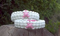 Breast Cancer Awareness White / Pink Ribbon Paracord Bracelet
