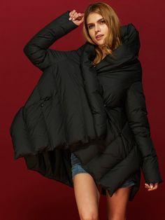48092b36de801 Fashion Stand Collar Pocket Cloak Down Coats For Women Plus Size Outerwear