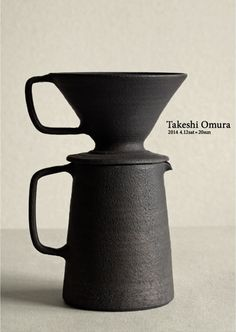 Ceramic Pour-Over Coffee Pot, Handmade ceramic coffee dripper and pitcher/mug combo with matte glaze and earthy charcoal black color. Morning coffee made simple with stunning, easy to use, hand thrown pour over set. Wabi Sabi, Ceramic Pottery, Ceramic Art, Coffee Shop, Coffee Maker, Coffee Cone, Keramik Design, Pour Over Coffee, Japanese Ceramics
