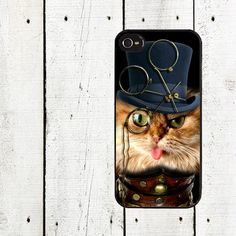 Steampunk Cat Cell Phone Case - iPhone 4,4s Case - iPhone 5 Case - The Entrepreneur - Gifts Under 25. $16.00, via Etsy.