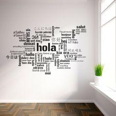 Vinilo decorativo de un collage con la palabra hola en varios idiomas