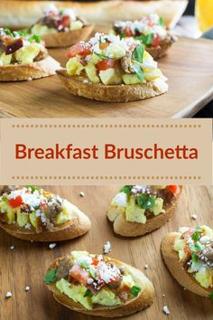 Breakfast Bruschetta ~ Let's do brunch! This is a great recipe to serve at a family gathering, holiday, or special occasion. Best Breakfast Recipes, Brunch Recipes, Breakfast Ideas, Holiday Recipes, Great Recipes, Delicious Recipes, Best Sunday Brunch, Bruschetta Recipe, Best Party Food