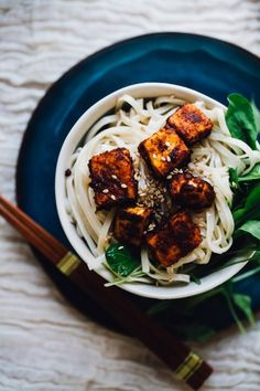 Crispy Harissa Tofu with Sesame Noodles, Vegan, Gluten-Free Recipe via willfrolicforfood.com
