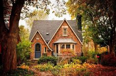 Cute little brick cottage in the woods! - Cute little brick cottage in the woods! Brick Cottage, Cottage In The Woods, Cottage Exterior, Cottage House Plans, Cozy Cottage, Cottage Homes, Cozy House, Tudor Cottage, Future House