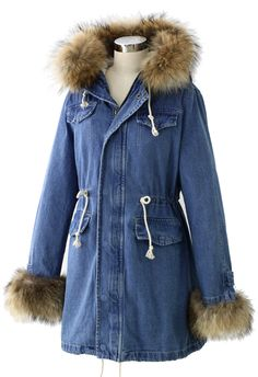 Hit the Road Detachable Fur Denim Jacket - Tops - Retro, Indie and Unique Fashion Denim Jacket With Fur, Denim Coat, Urban Trends, Winter Outfits, Winter Clothes, Feminine Style, Cute Shirts, Fashion Outfits, Womens Fashion