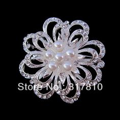 Sparkly Silver Tone Clear Rhinestone Crystal Diamante & White Pearl Chrysanthemum Flower Pin Brooch Party US $13.00