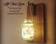 Initial Mason Jar Wall Sconce Mason Jar Decor by AllThatsRustic