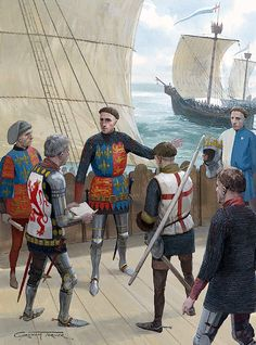 """Saiting for France - Henry V stands on the after-castle of his ship issuing orders as the French coast appears on the horizon""   Graham Turner"