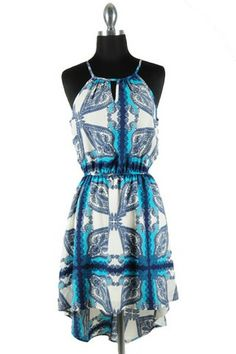 Mykonos High Low Dress - Blue   White $49.00